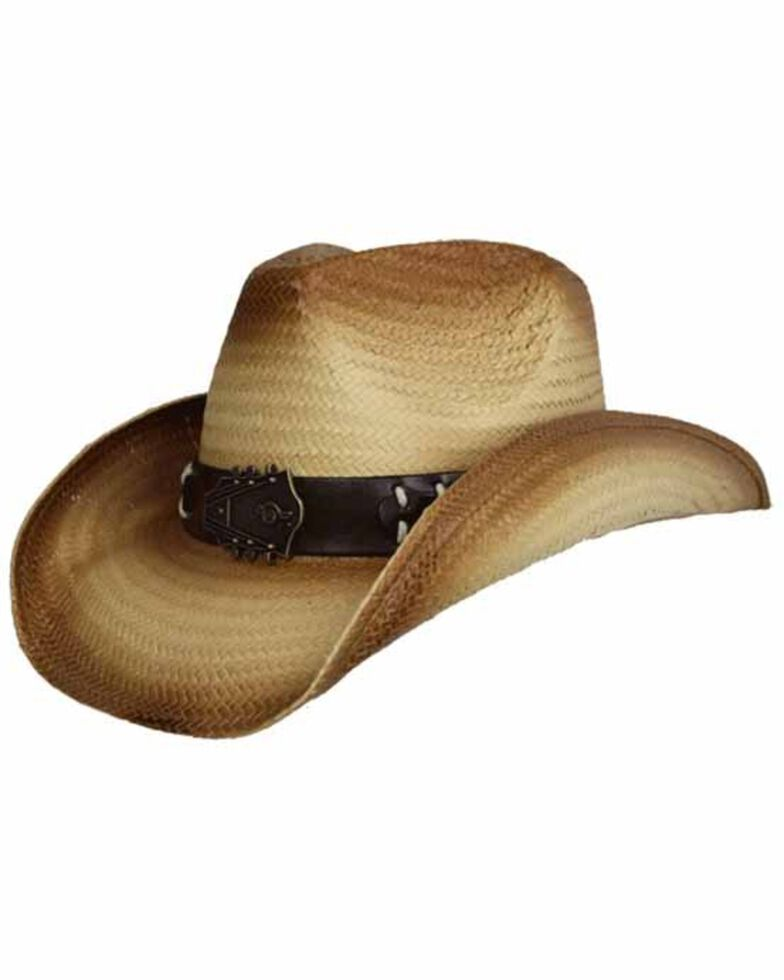 Peter Grimm Brown Tuned Western Straw Hat , Brown, hi-res
