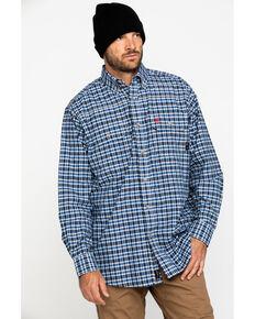 Ariat Men's Navy FR Plaid Featherlight Long Sleeve Work Shirt - Big , Navy, hi-res