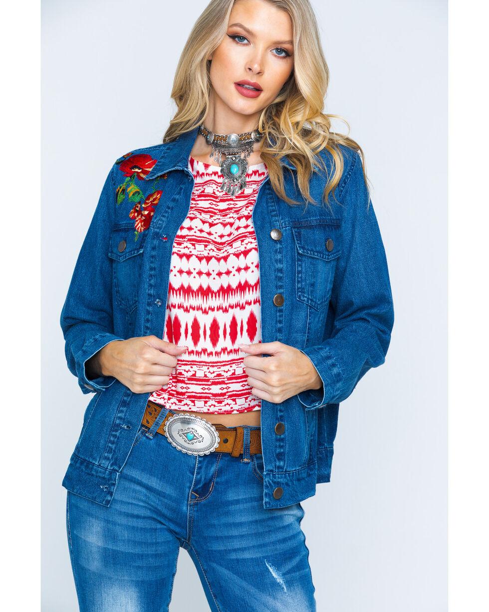New Direction Sport Women S Indigo Embroidered Denim Jacket Boot Barn