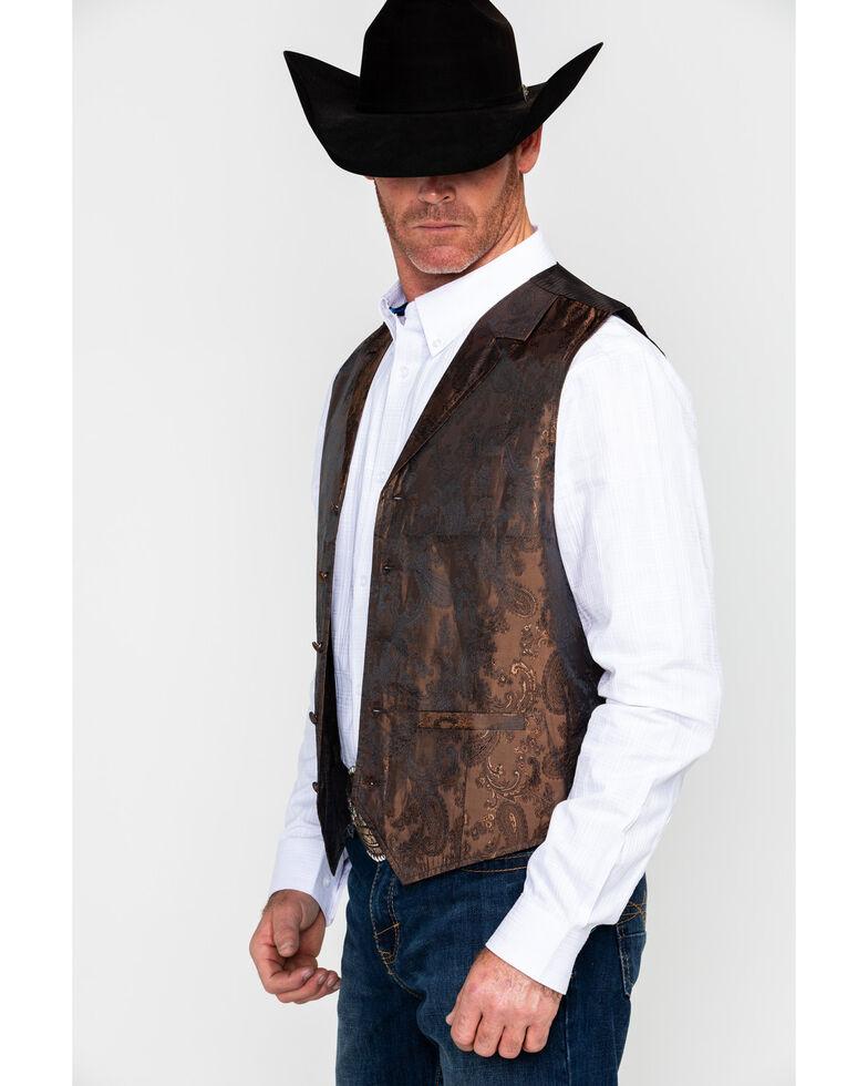Cody James Men's Paisley Print Jacquard Button Front Vest , Brown, hi-res