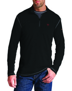Ariat Men's Fire-Resistant Polartec 1/4-Zip Baselayer Pullover, Black, hi-res