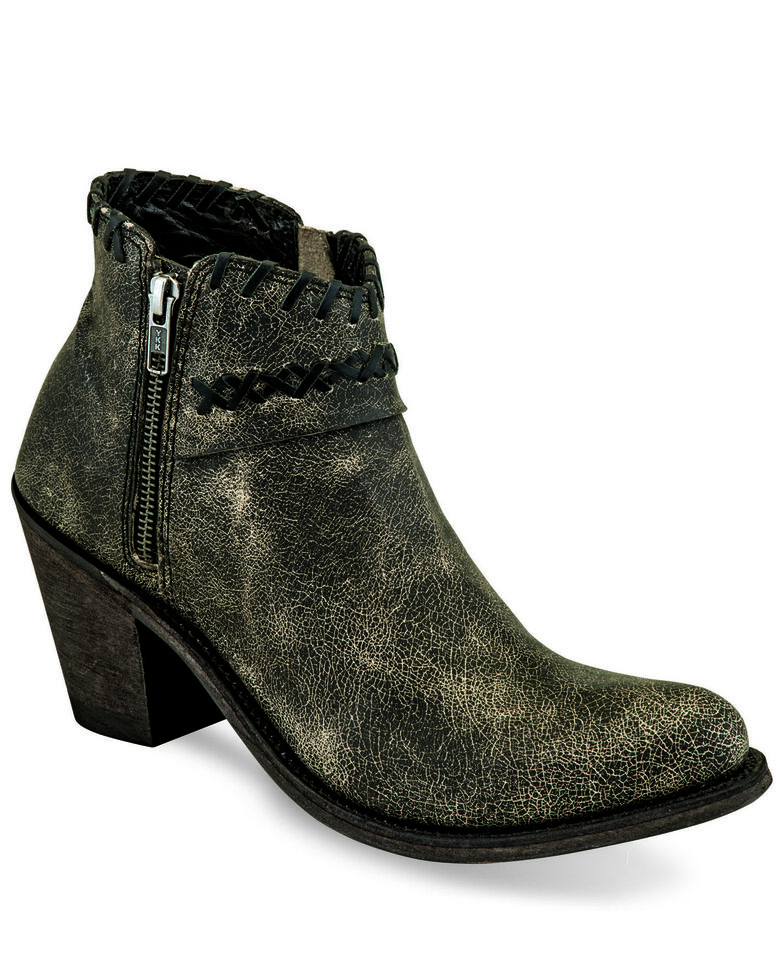 Old West Women's Distressed Whipstitch Fashion Booties - Pointed Toe, Charcoal, hi-res