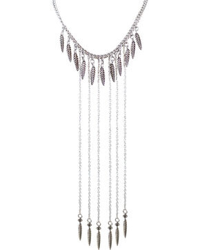 Shyanne Women's Feather Chain Necklace , Silver, hi-res