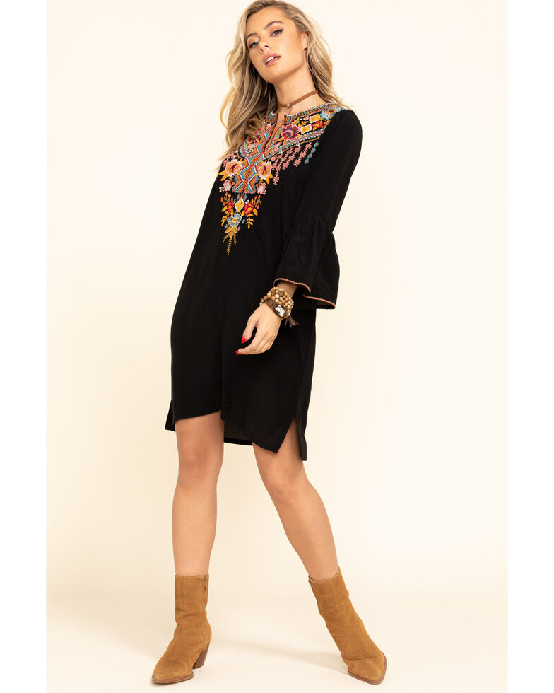 Johnny Was Women's Black Clansy Flare Sleeve Tunic Dress, Black, hi-res