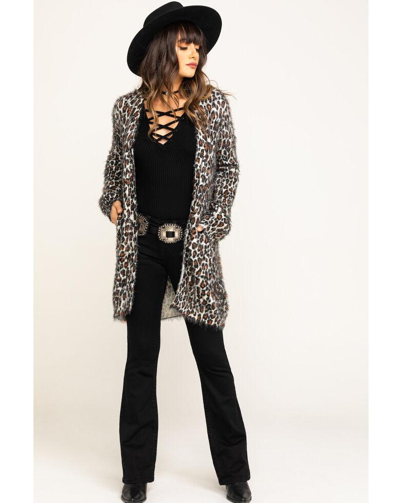 Show Me Your Mumu Women's Cheetah Fuzzy Cardigan  , Leopard, hi-res