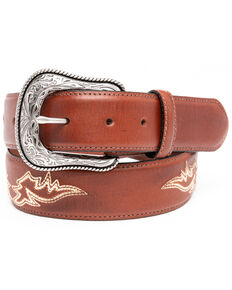 Moonshine Spirit Men's Burnish Stitched Western Belt , Brown, hi-res