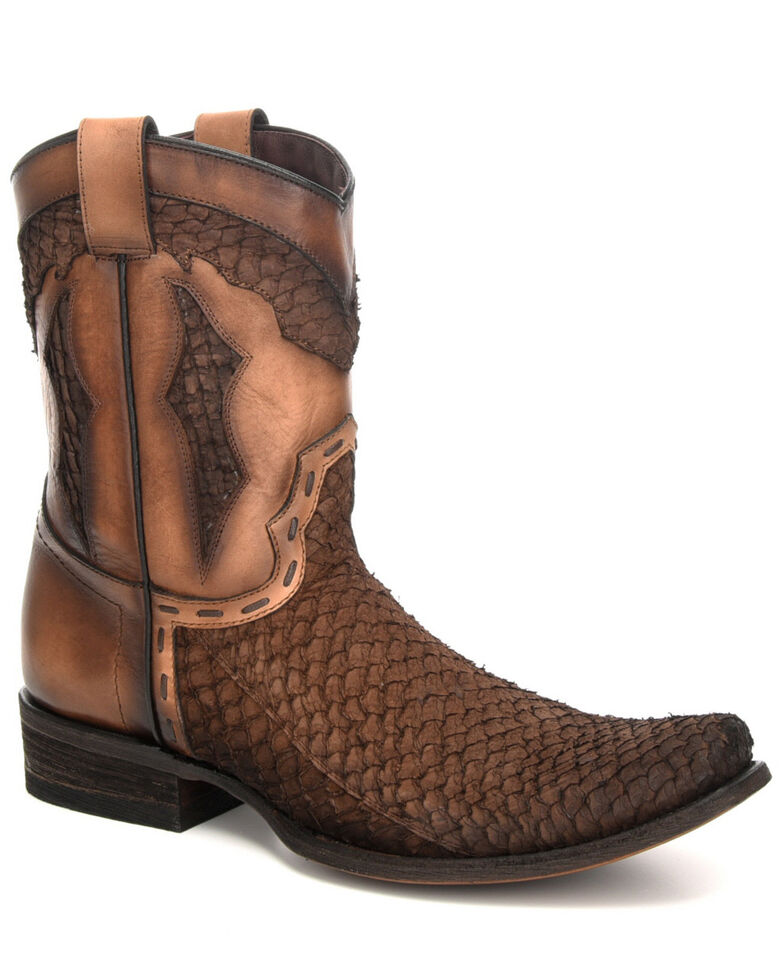 Corral Men's Black Fish Western Boots - Square Toe, Black, hi-res