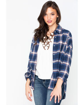 Wrangler Women's Navy Plaid Boyfriend Flannel Shirt , Navy, hi-res