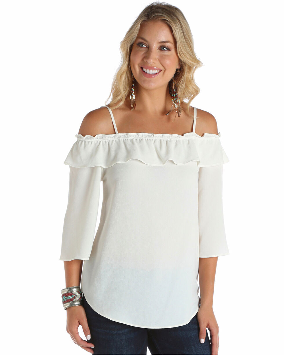 Wrangler Women's Ivory Off Shoulder Ruffle Top , Ivory, hi-res