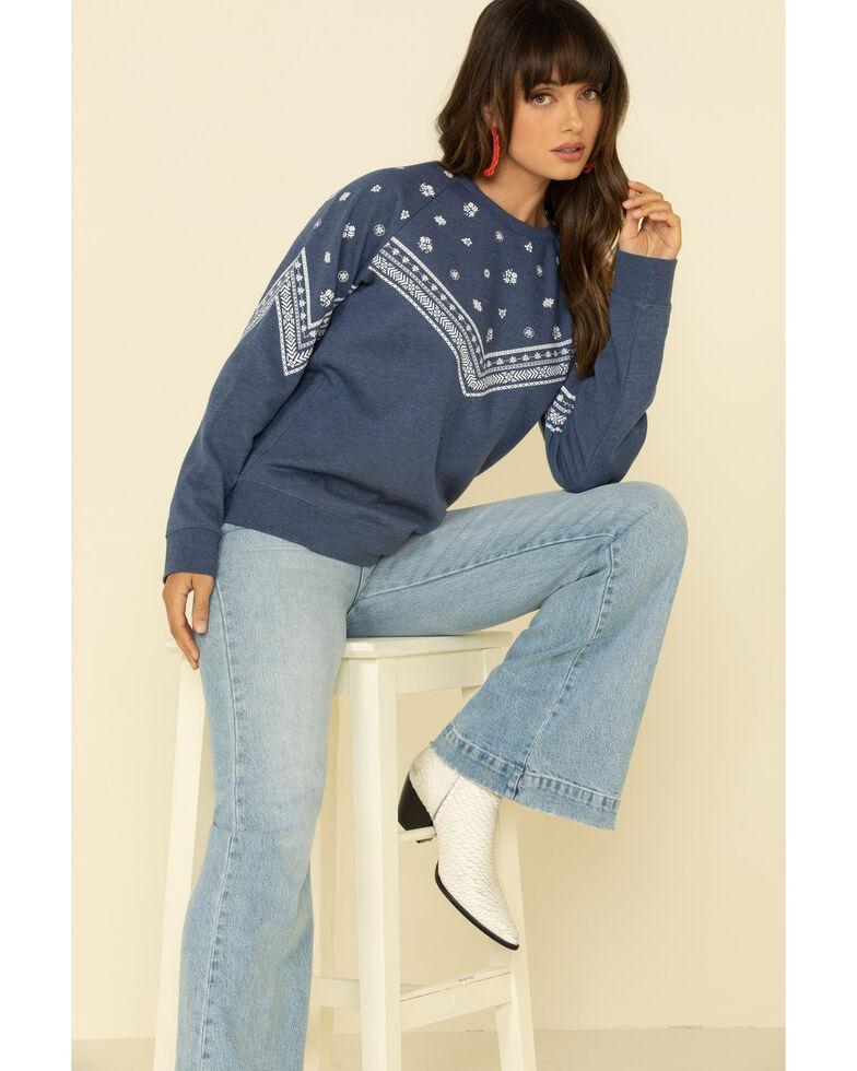 Wrangler Retro Women's Blue Raglan Printed Pullover, Blue, hi-res