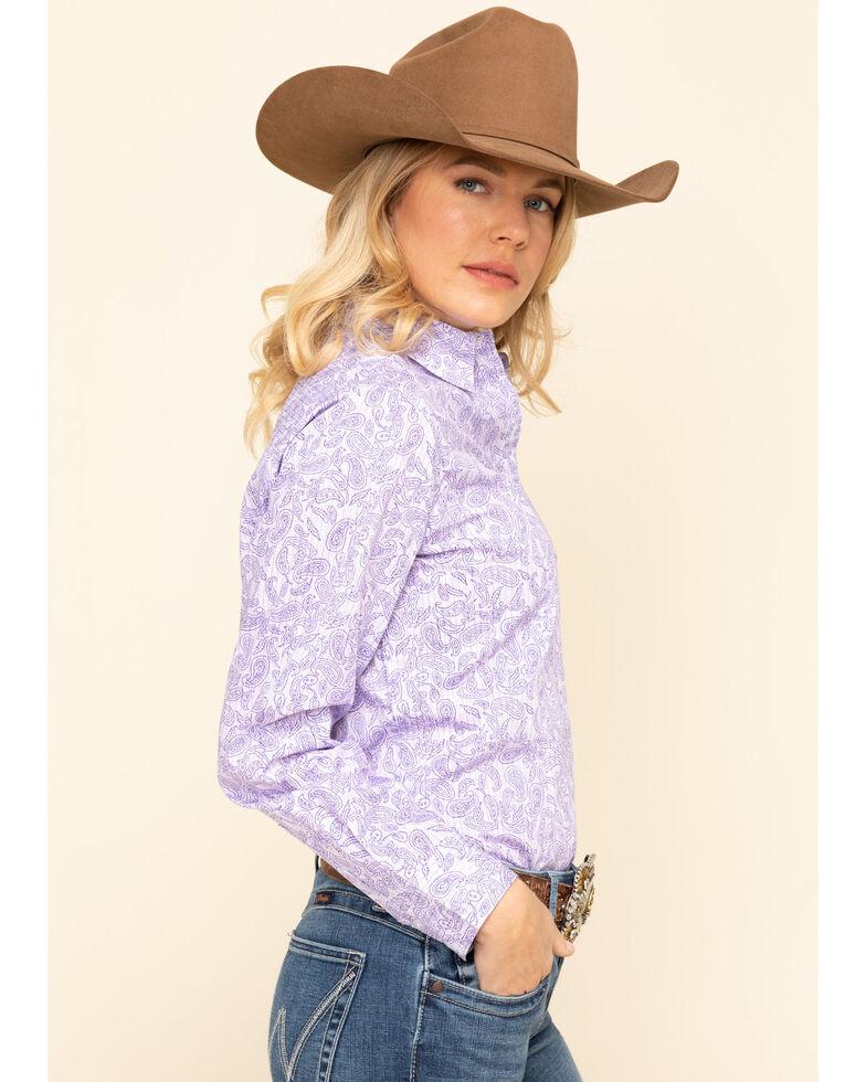 George Strait by Wrangler Women's Purple Paisley Long Sleeve Western Shirt , , hi-res