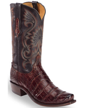 Lucchese Men's Black Cherry Rio Giant Gator Western Boots - Snip Toe , Black, hi-res