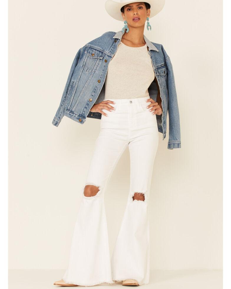 Sneak Peek Women's Cassie Flare Leg Jeans, White, hi-res