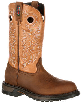 Rocky Men's Original Ride Western Work Boots - Round Toe, Brown, hi-res