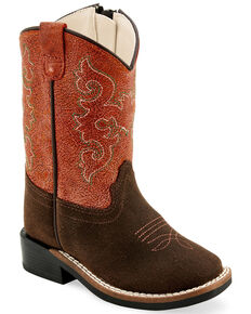 Old West Toddler Boys' Zipper Western Boots - Wide Square Toe, Brown, hi-res
