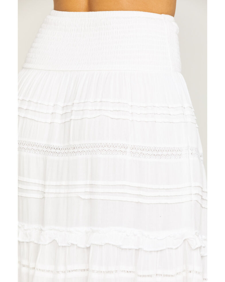 Show Me Your Mumu Women's White Bodie Lace Tiered Maxi Skirt, White, hi-res