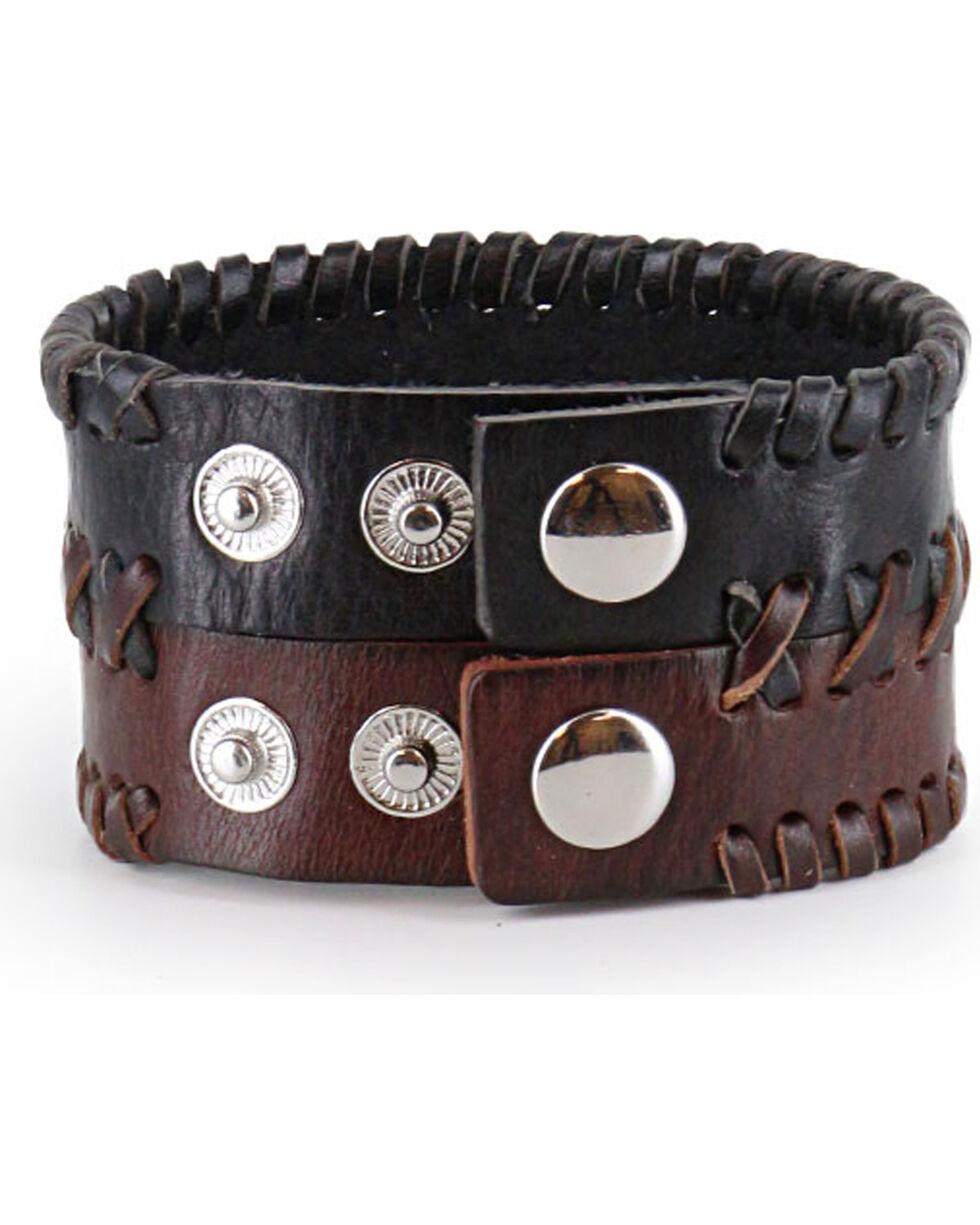 Moonshine Spirit® Men's Braided Leather Cuff , Dark Brown, hi-res