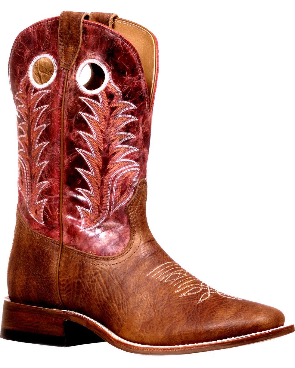 Boulet Men's Challenger Vitro Rojo Cowboy Boots - Square Toe, Brown, hi-res