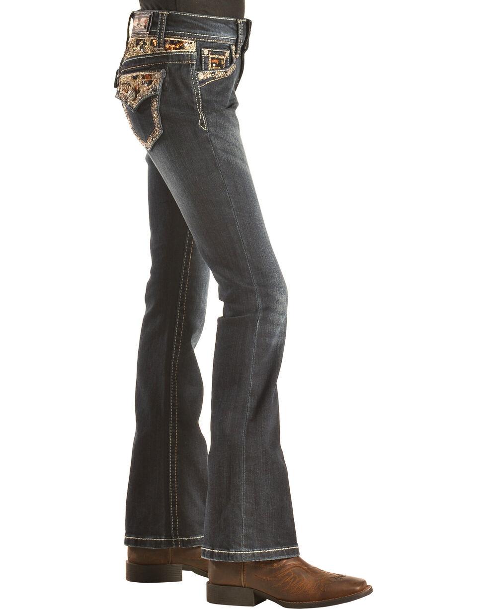 Grace in LA Girls' Black and Gold Embellished Flap Pocket Bootcut Jeans  , Denim, hi-res