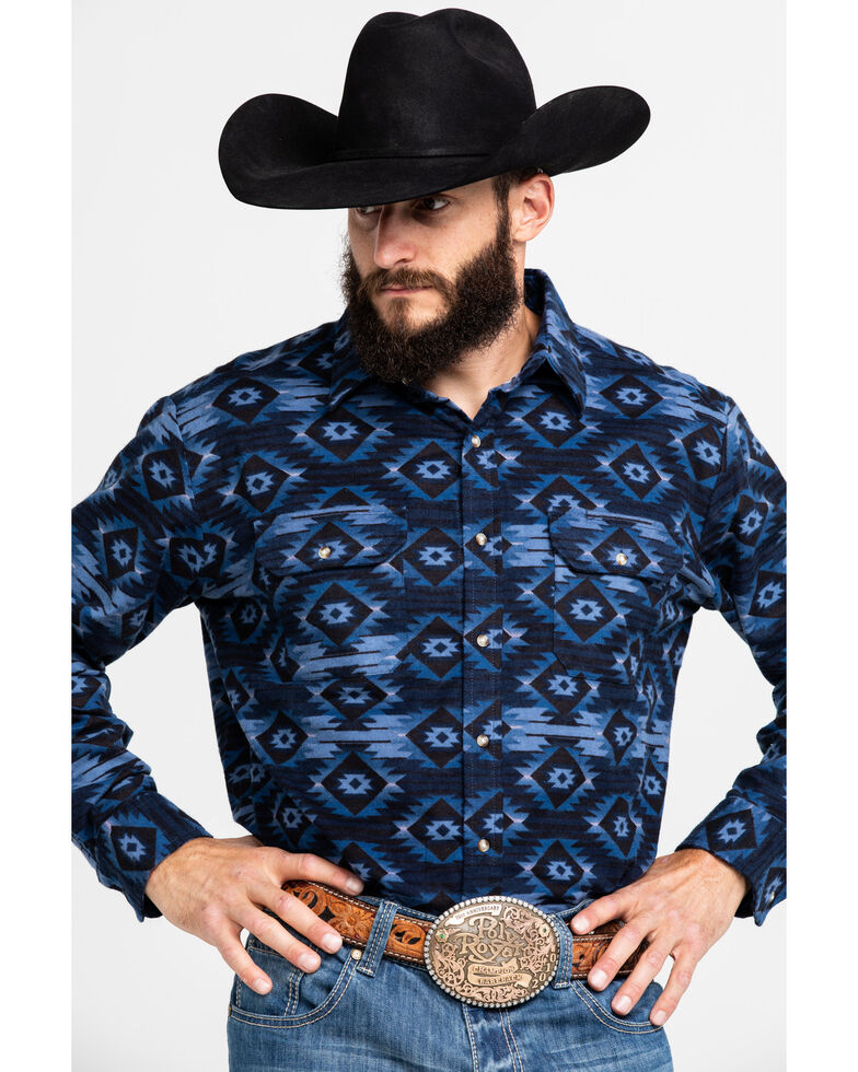 Ely Cattleman Men's Blue Aztec Print Long Sleeve Western Flannel Shirt - Tall, Blue, hi-res