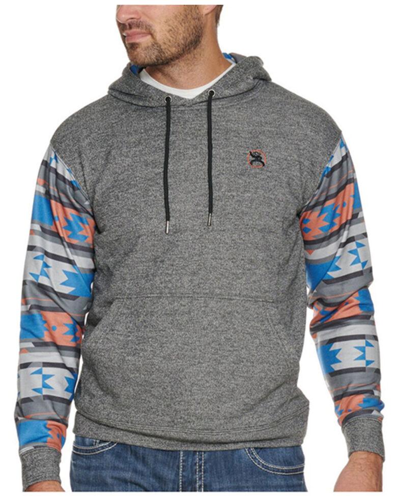 HOOey Men's Roughy Heather Grey and Aztec Print Hooded Sweatshirt , Grey, hi-res