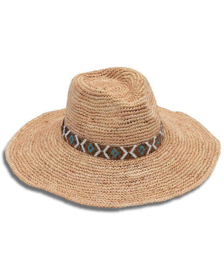Nikki Beach Women's Metallic Diamonds Raffia Western Straw Hat  , Natural, hi-res
