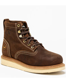"Hawx Men's 6"" Lacer Work Boots - Composite Toe, Brown, hi-res"