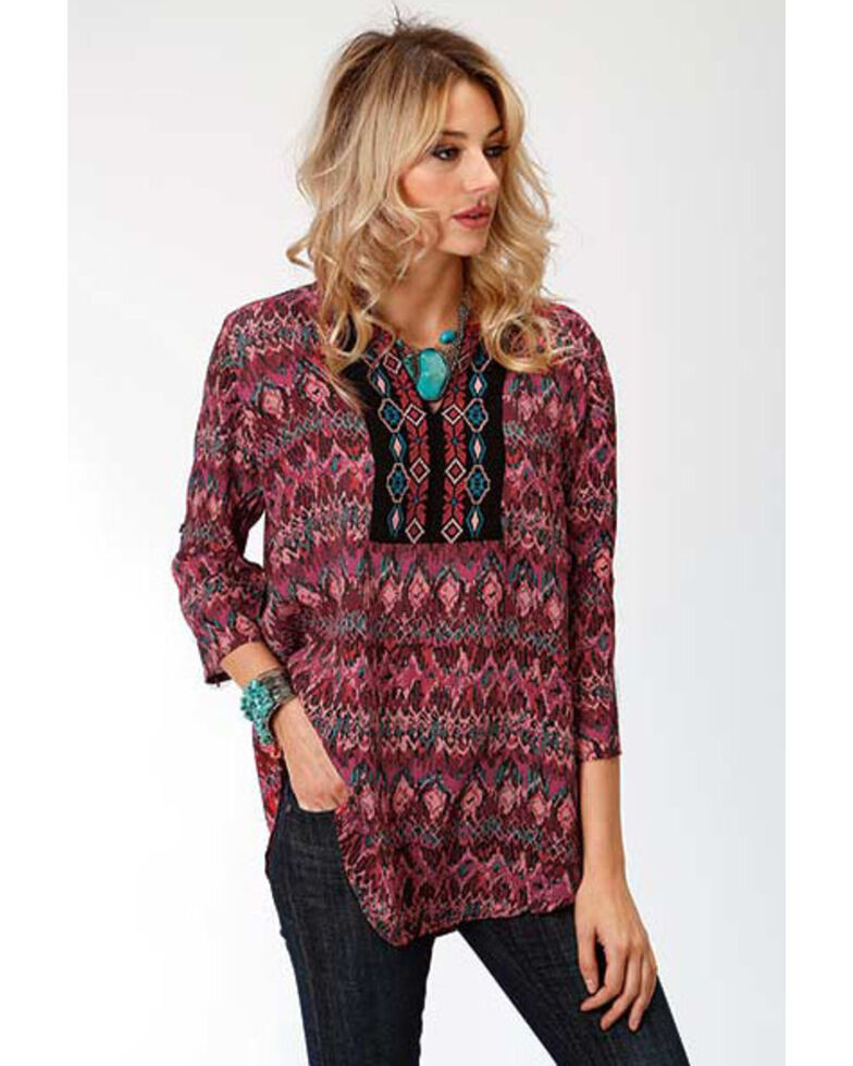 Studio West Women's Ikat Print Blouse, Wine, hi-res