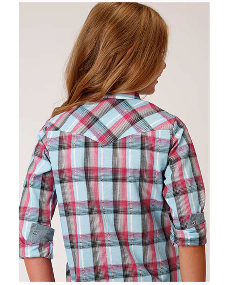 West Made Girls' Blue Multi-Color Plaid Long Sleeve Western Shirt, Blue, hi-res