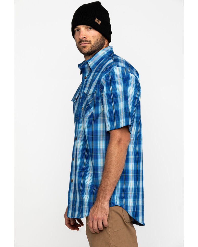 Ariat Men's Navy Plaid Rebar Made Tough Short Sleeve Work Shirt - Big , Navy, hi-res