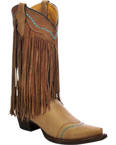 Corral Girls' Cowhide Fringe Cowgirl Boots - Snip Toe , Taupe, hi-res