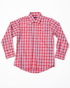 Wrangler Boys' Plaid Wrinkle Resist Long Sleeve Western Shirt, Red, hi-res