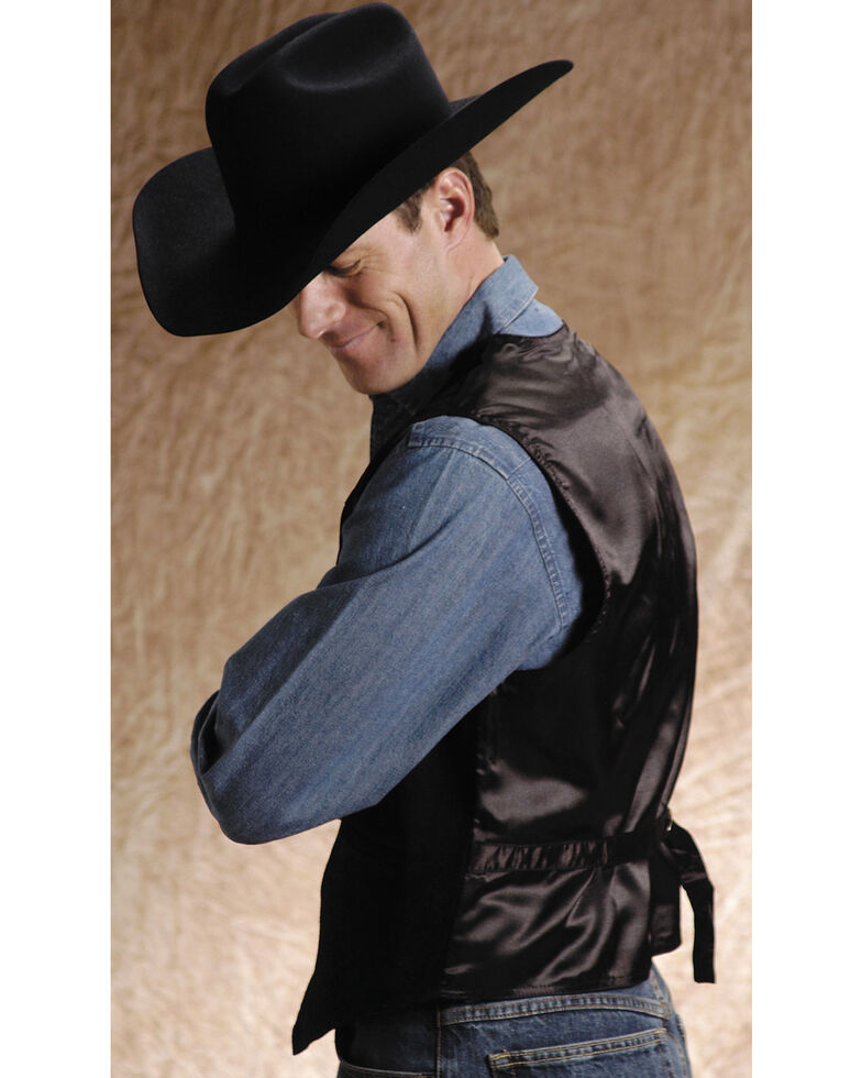 Roper Men's Suede Leather Vest, Black, hi-res