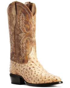 Ariat Men's Circiut Light Full Quill Ostrich Western Boots - Round Toe, Brown, hi-res