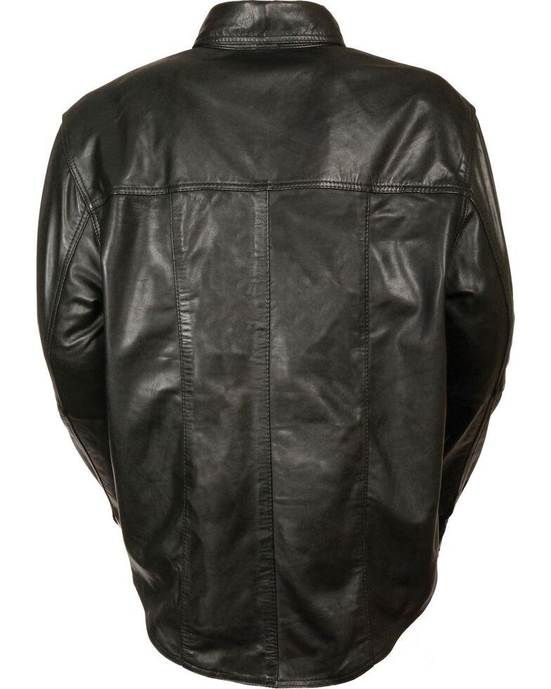 Milwaukee Leather Men's Black Lightweight Leather Shirt - Big & Tall, Black, hi-res