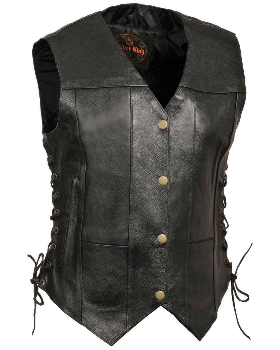 Milwaukee Leather Women's Black 6 Pocket Side Lace Conceal Carry Vest , Black, hi-res
