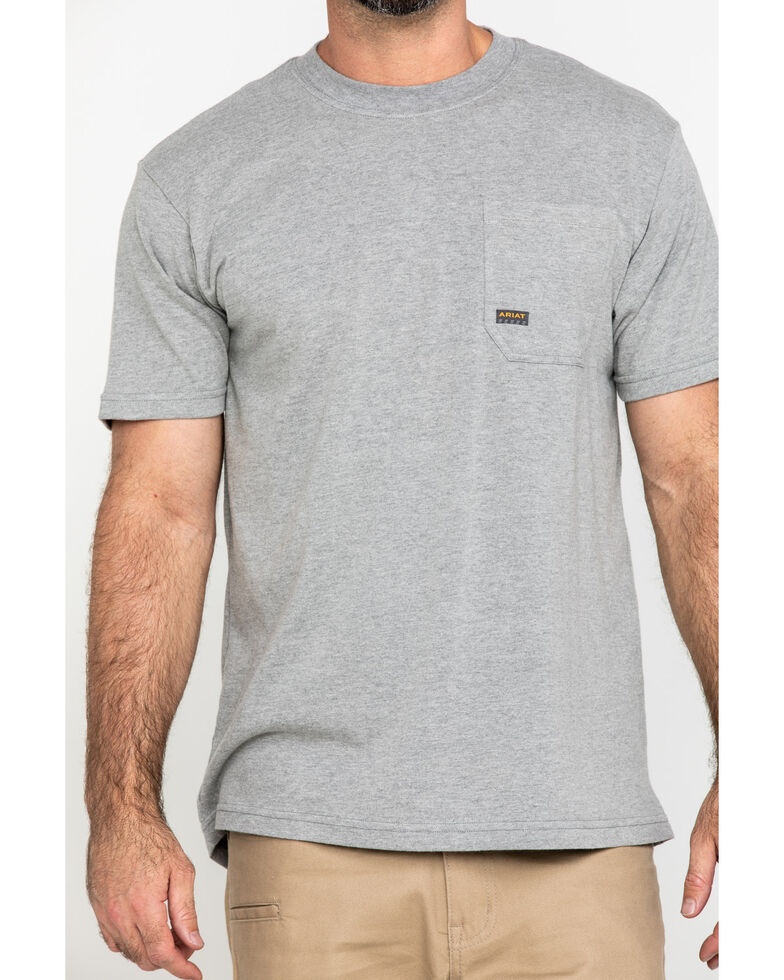 Ariat Men's Grey Rebar Cotton Strong American Grit Work T-Shirt , Heather Grey, hi-res