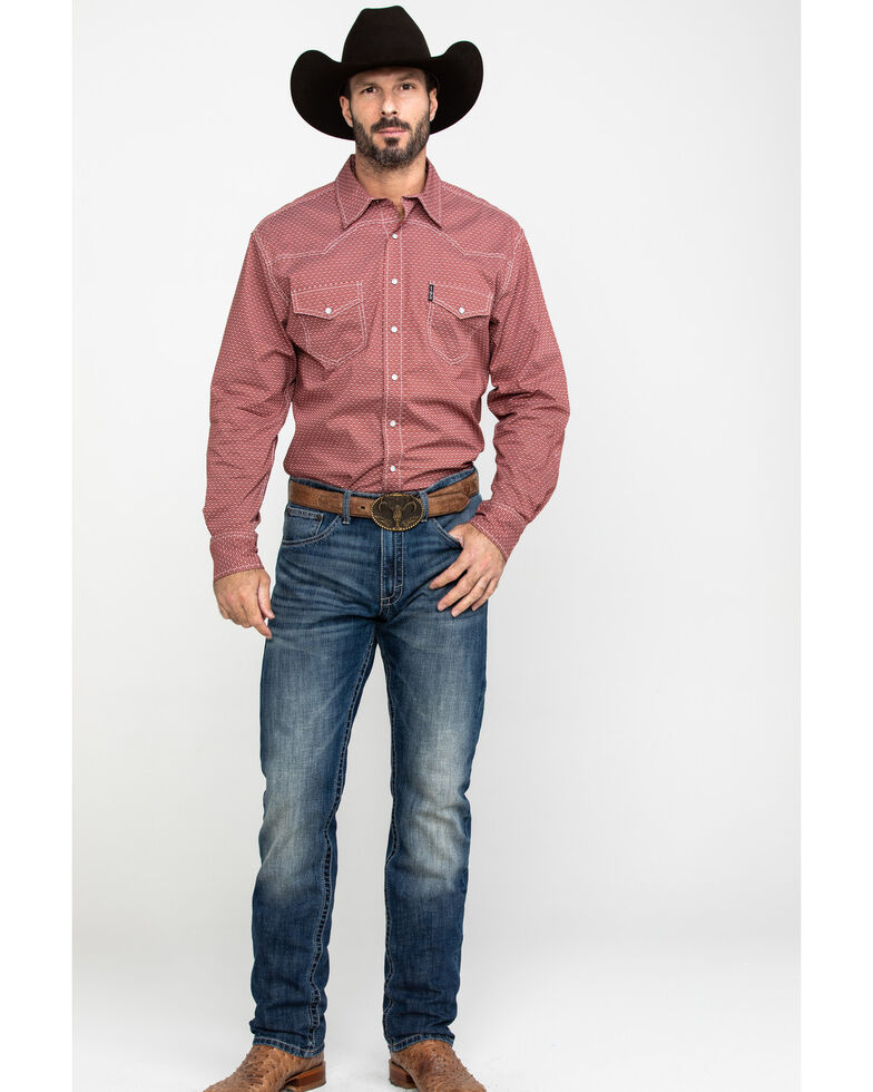 Cinch Men's Red Geo Print Snap Long Sleeve Western Shirt , Red, hi-res