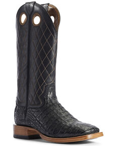 Ariat Men's Caiman Belly Western Boots - Wide Square Toe, Black, hi-res