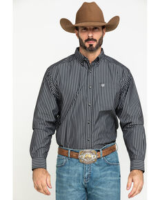 Ariat Men's Kirkland Stretch Striped Long Sleeve Western Shirt , Black, hi-res