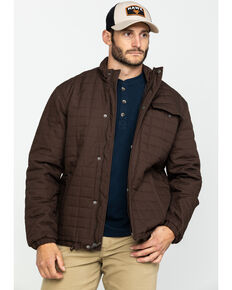 Wrangler Men's Brown Chore Quilt Lined Jacket , Dark Brown, hi-res
