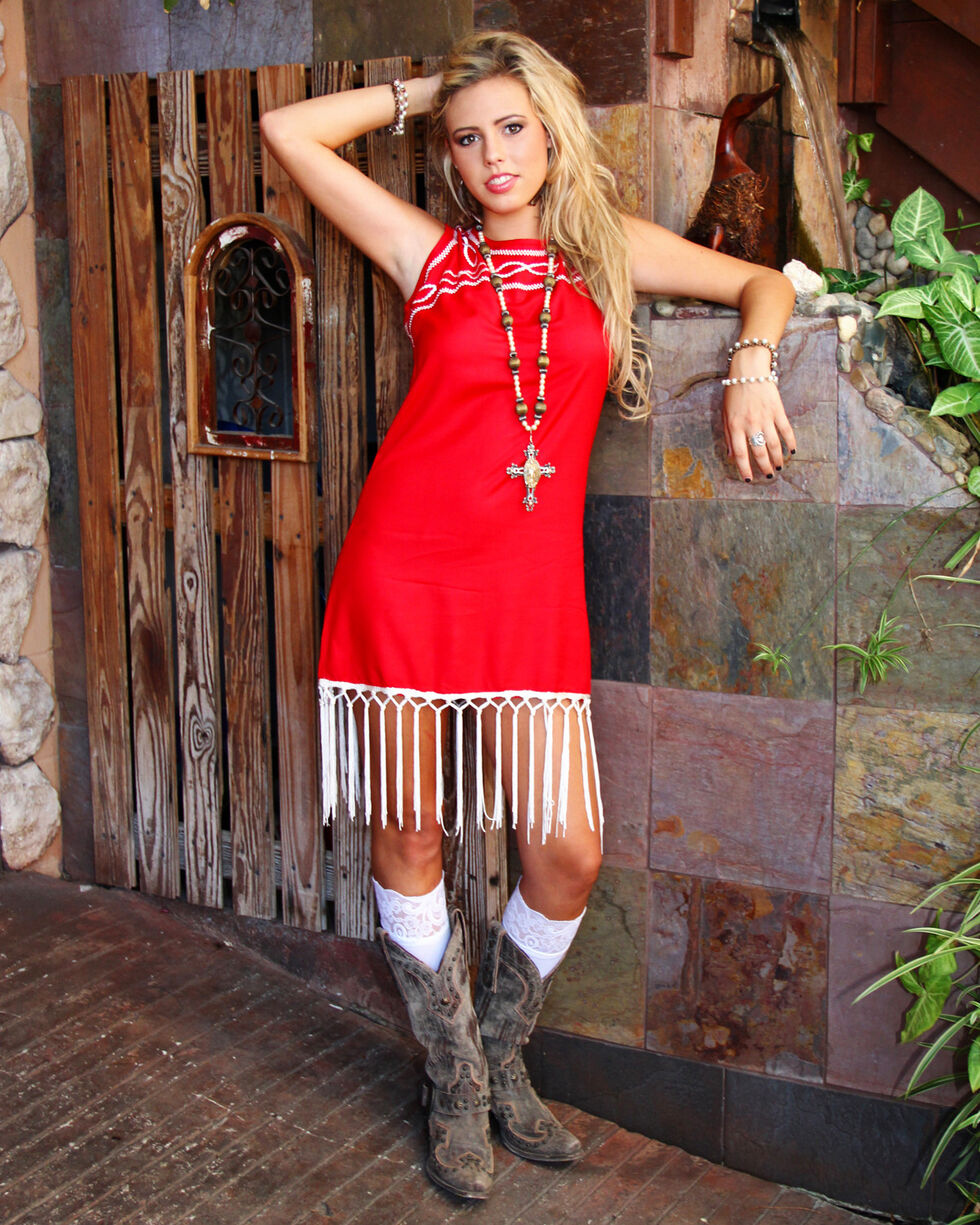 R Cinco Ranch Women's American Honey Dress, Red, hi-res