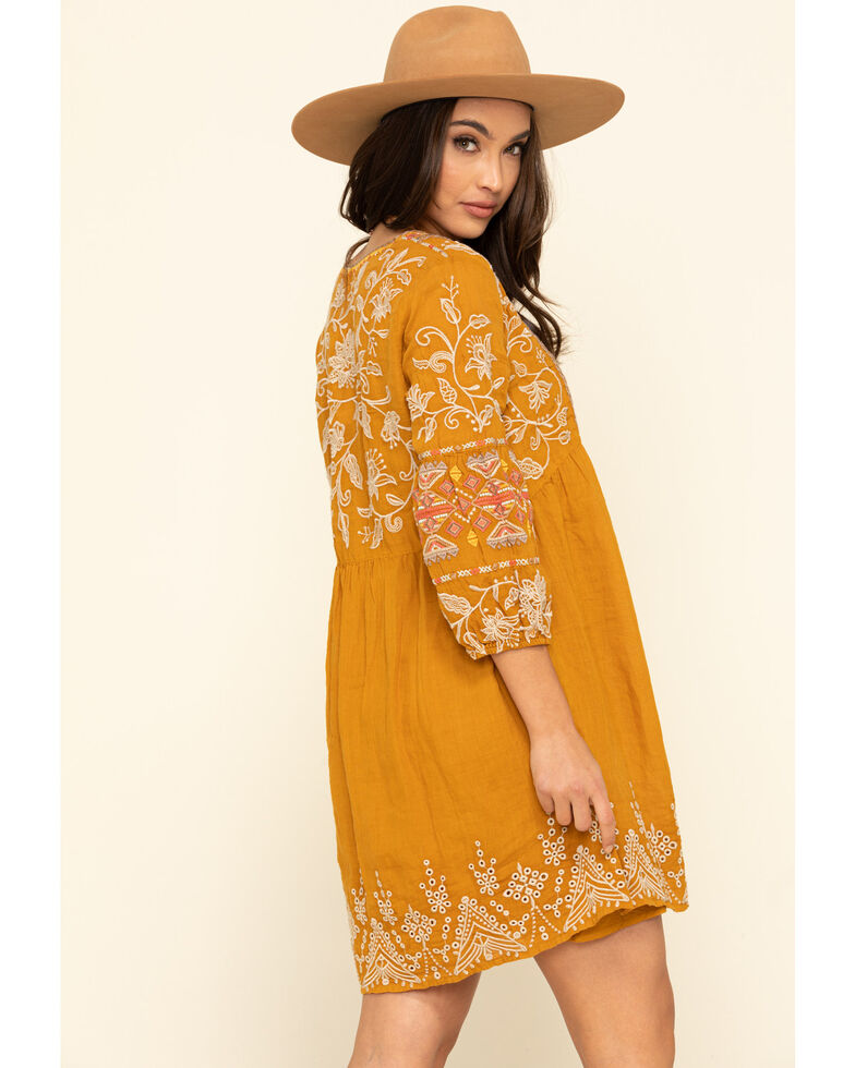 Johnny Was Women's Mustard Chai Paris Dress, Mustard, hi-res