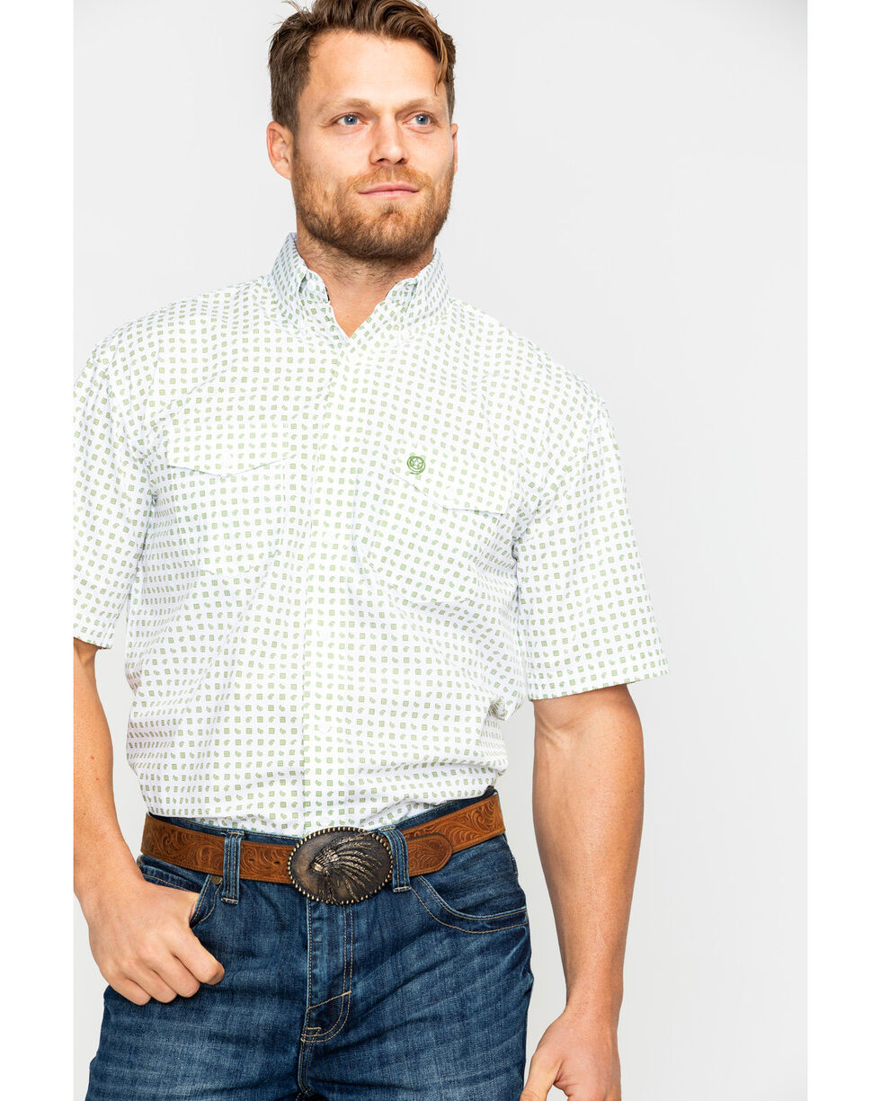 Wrangler Men's Geo Print Short Sleeve Western Shirt , White, hi-res