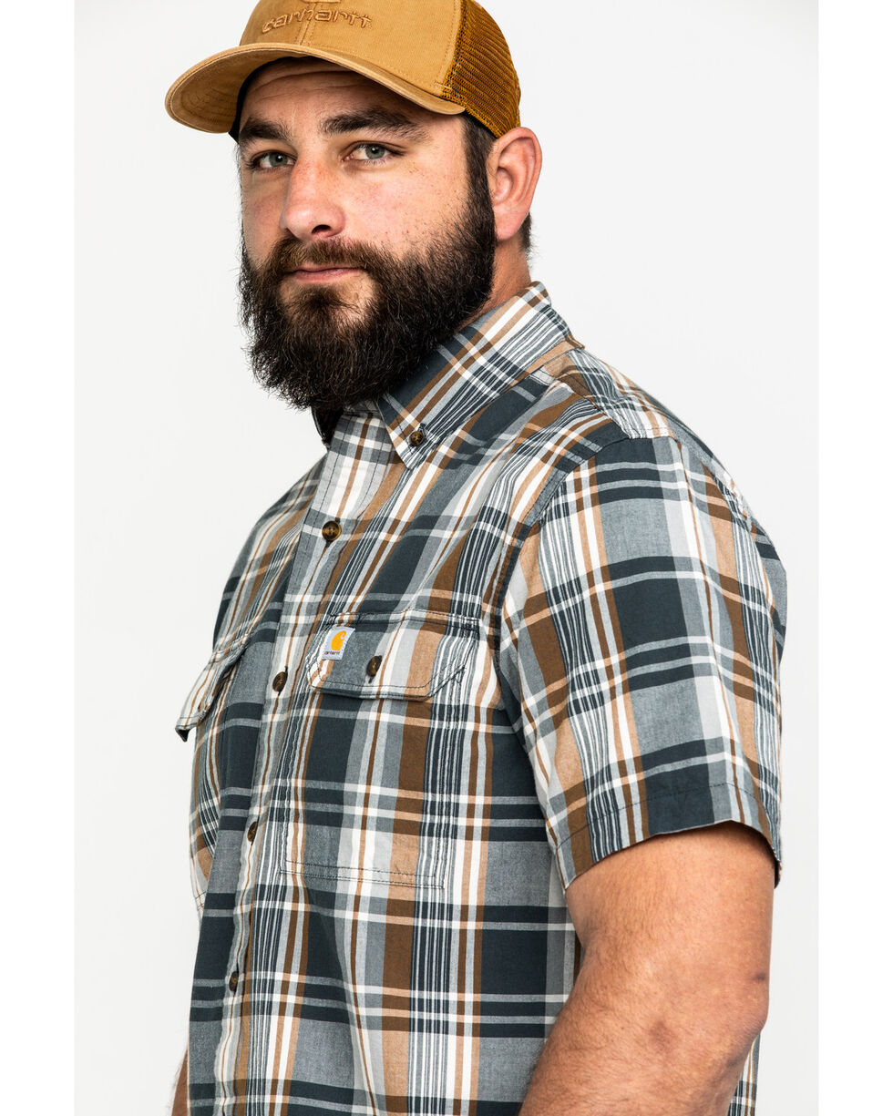Carhartt Men's Fort Plaid Long-Sleeve Work Shirt - Big , Dark Grey, hi-res