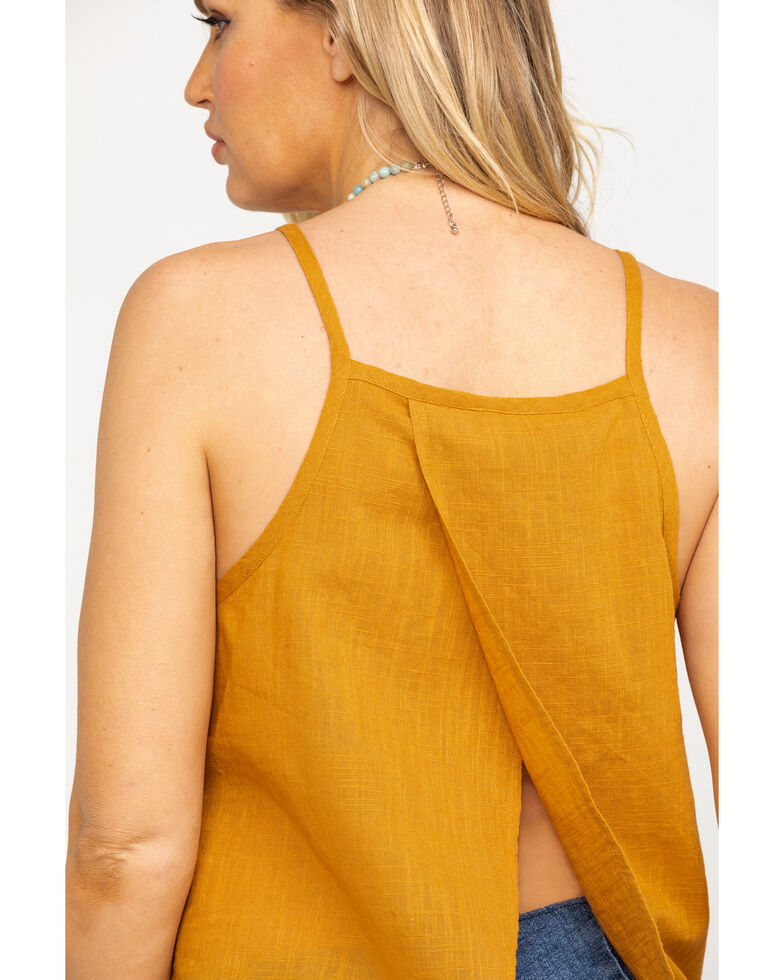 Shyanne Women's Mustard Embroidered Tulip Back Top , Dark Yellow, hi-res