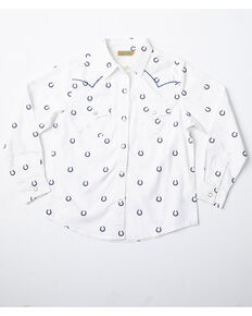Wrangler Girls' Horseshoe Print Long Sleeve Western Shirt, White, hi-res