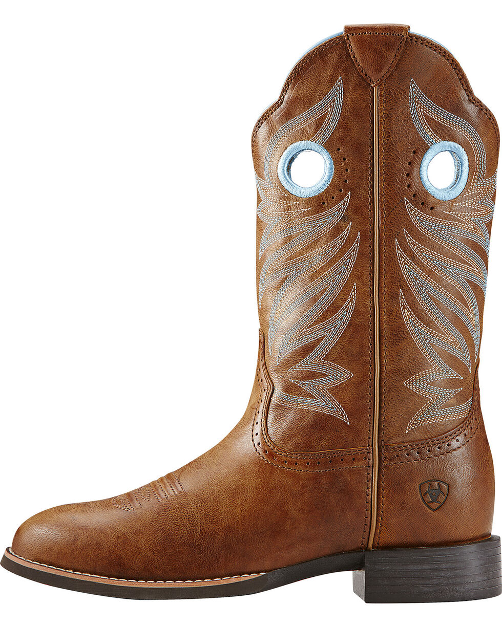 Ariat Women's Round Up Stockman Western Boots, Wood, hi-res