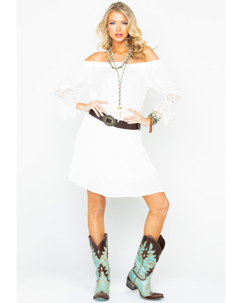 Panhandle Women's White Off Shoulder Lace Dress, White, hi-res