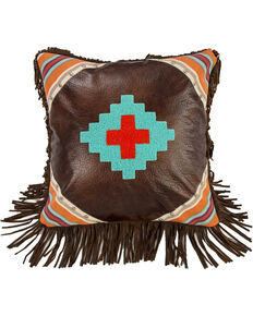 HiEnd Accents Brown Embroidered Aztec Fringe Pillow , Dark Brown, hi-res